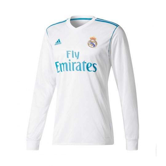 Camiseta  adidas Real Madrid Primera Equipación m/l 2017-2018 White-Vivid teal