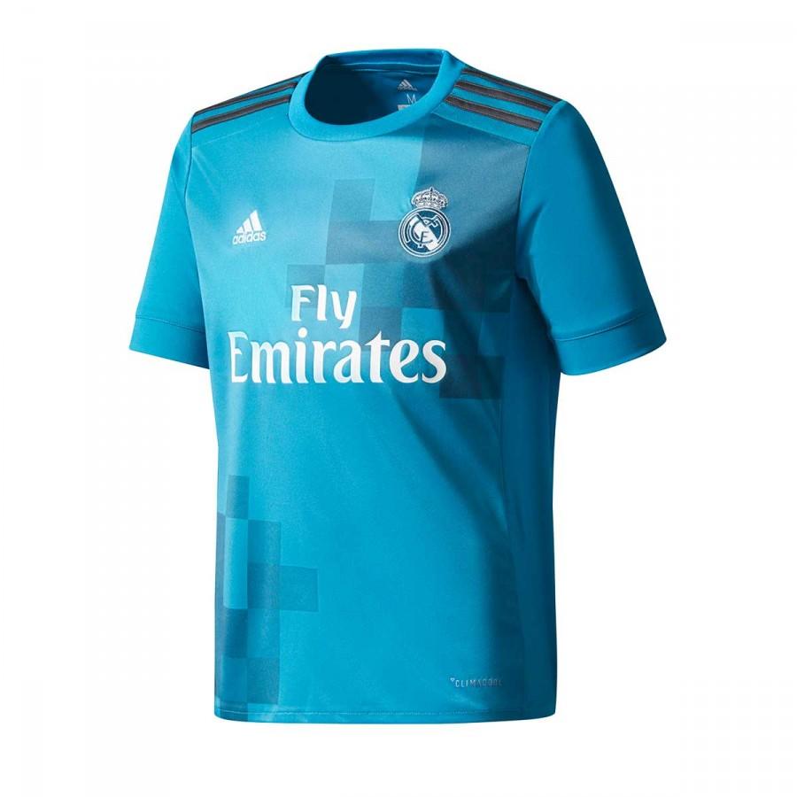 6a0bb33e800fc Camiseta adidas Real Madrid Tercera Equipación 2017-2018 Niño Vivid  teal-Solid grey-White - Tienda de fútbol Fútbol Emotion