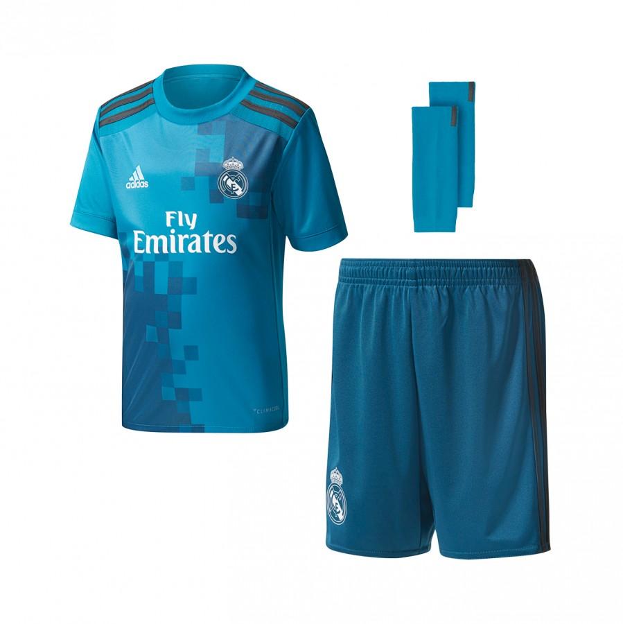 d2ecdb25e0545 Conjunto adidas Real Madrid Tercera Equipación 2017-2018 Niño Vivid  teal-Solid grey-White - Tienda de fútbol Fútbol Emotion