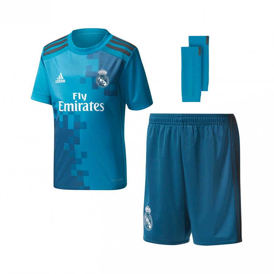 58179b5e1 Kit adidas Real Madrid 3rd kit 2017-2018 Kids Vivid teal-Solid grey-White -  Football store Fútbol Emotion