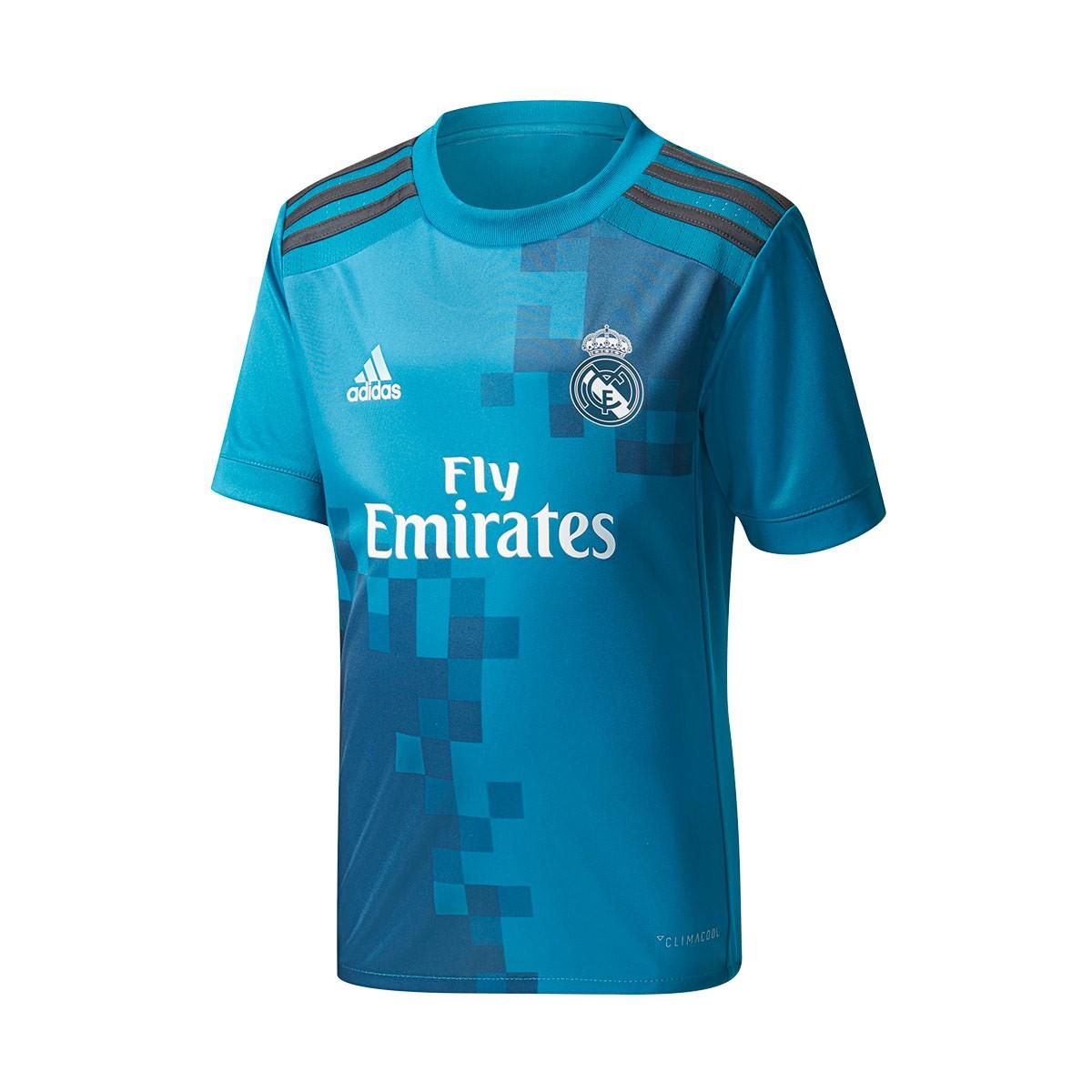 eebdd279699fd Conjunto adidas Real Madrid Tercera Equipación 2017-2018 Niño Vivid  teal-Solid grey-White - Tienda de fútbol Fútbol Emotion