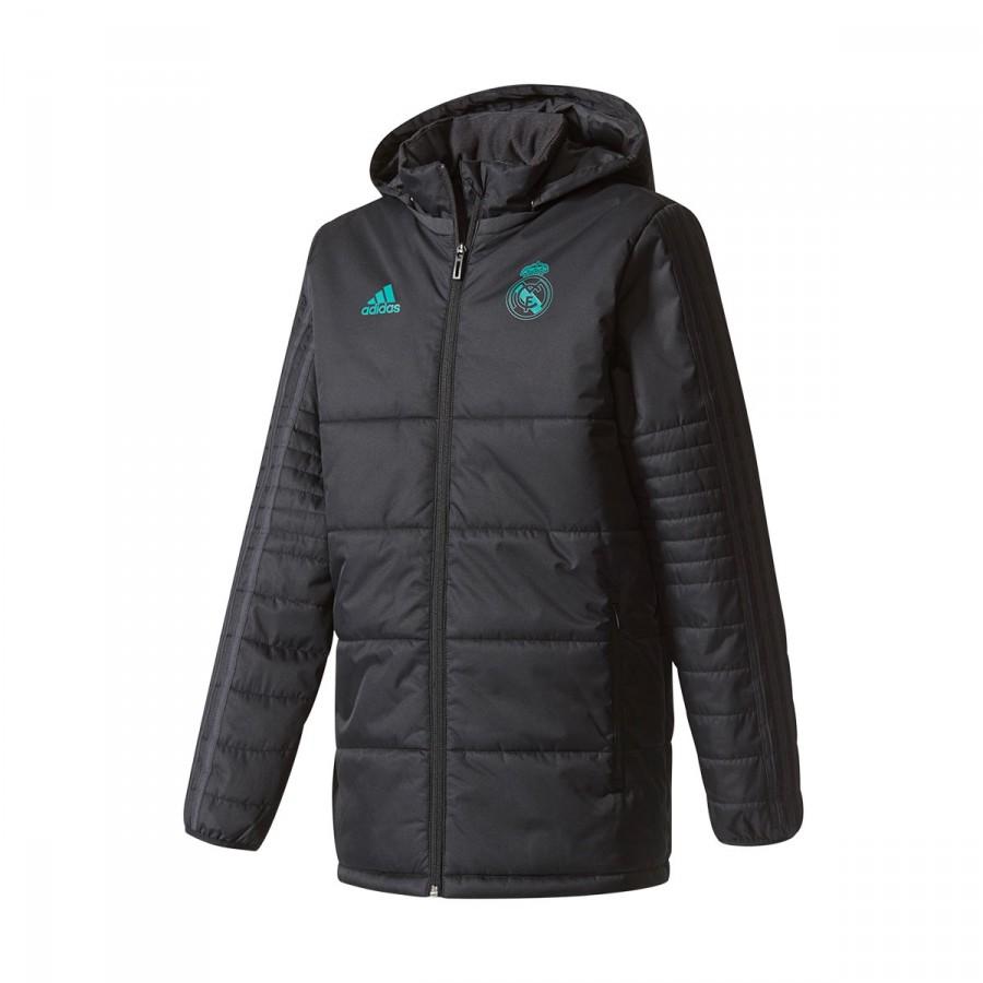 7bf496a46c50e Jacket adidas Real Madrid Winter 2017-2018 Kids Black-Solid grey ...