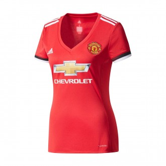 Maglia  adidas Manchester United FC Home 2017-2018 Donna Real red-White-Black