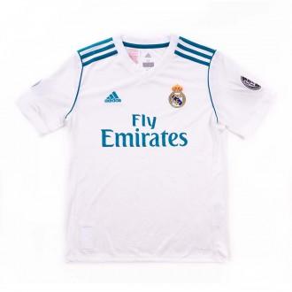 Camiseta  adidas Real Madrid Primera Equipación Niño UCL 2017-2018 White-Vivid teal