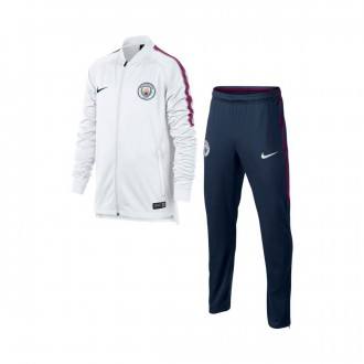 Fato de treino  Nike Manchester City FC Dry Squad Niño 2017-2018 White-Midnight navy