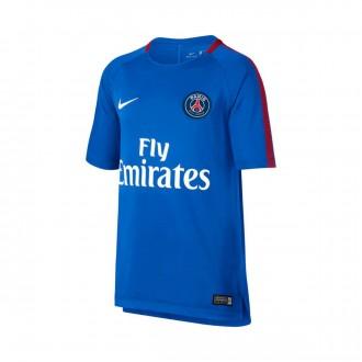 Camiseta  Nike Paris Saint-Germain Breathe Squad Top SS 2017-2018 Hyper cobalt-Rush red-White
