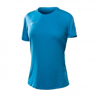Camisola  Nike Dry Academy Top SS Mulher Lt blue fury-White