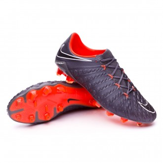 Zapatos de fútbol  Nike Hypervenom Phantom III Elite FG Dark grey-Total orange-White