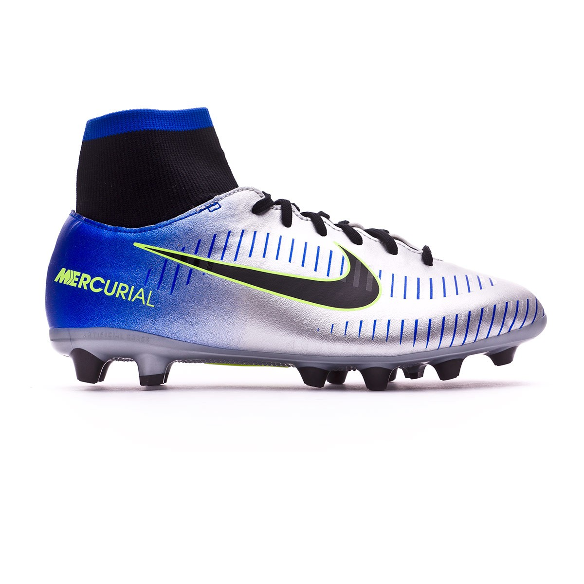 official photos 65d03 7ef50 Bota Mercurial Victory VI DF AG-Pro Neymar Niño Racer blue-Black-Chrome-Volt