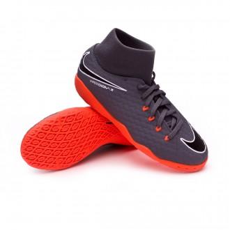 Chaussure de futsal  Nike Hypervenom PhantomX III Academy DF IC Niño Dark grey-Total orange-White