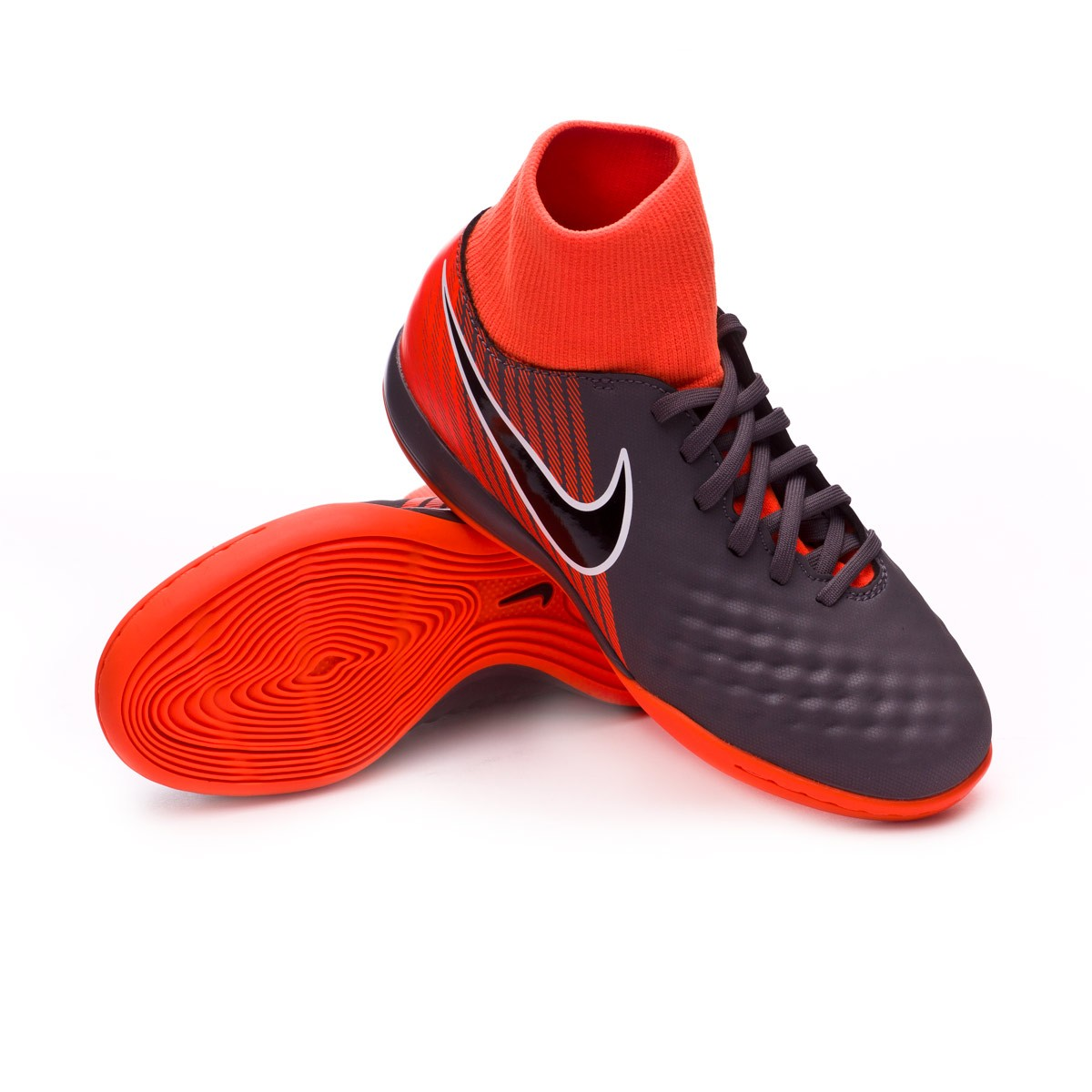 7478ec0a2 Nike Kids Magista ObraX II Academy DF IC Futsal Boot. Dark grey-Black-Total  orange-White ...
