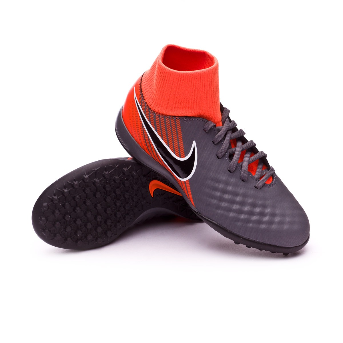 12ab3ec74aa Nike Kids Magista ObraX II Academy DF Turf Football Boot. Dark grey-Black-Total  orange-White ...