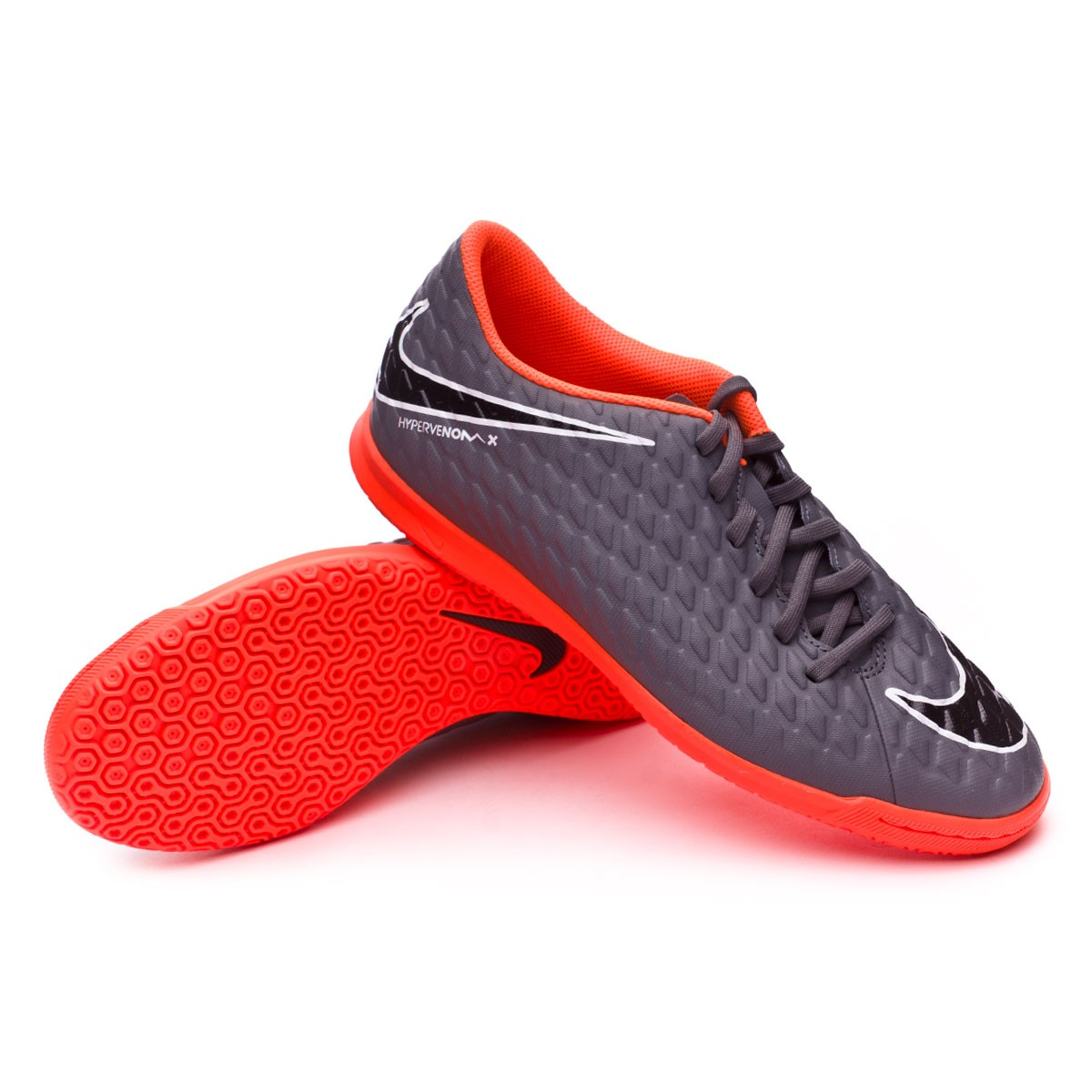 fe8b35494928 Zapatilla Hypervenom PhantomX III Club IC Dark grey-Total orange-White