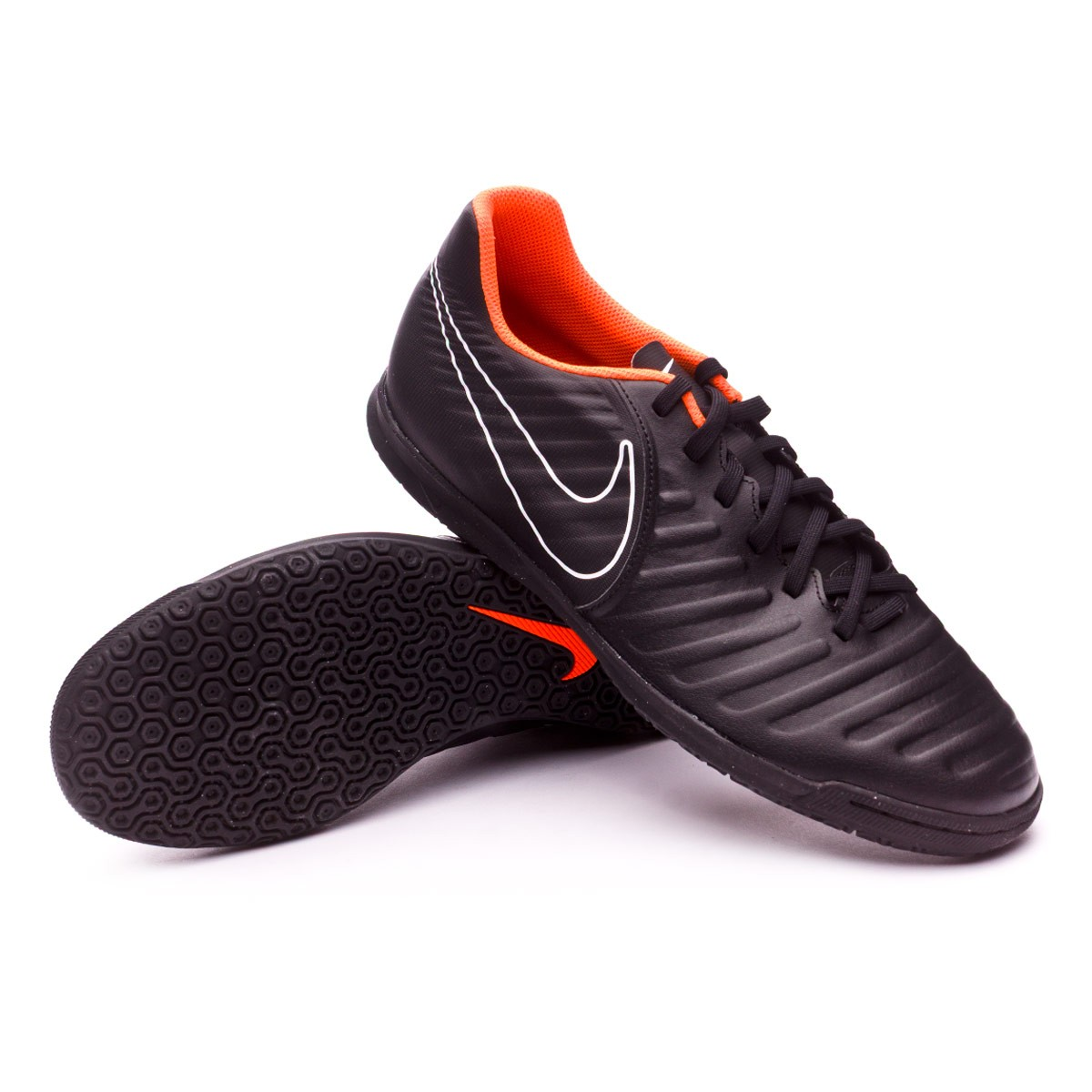 f75846a689a Futsal Boot Nike Tiempo LegendX VII Club IC Black-Total orange-White ...