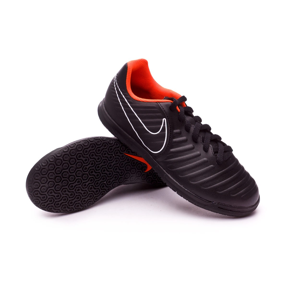 3d52c6d0f Nike Kids Tiempo LegendX VII Club IC Futsal Boot. Black-Total orange-White  ...