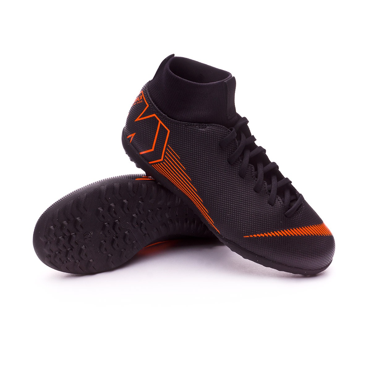 separation shoes 4e5dd ed6e4 Zapatilla Mercurial SuperflyX VI Club Turf Niño Black-Total orange-White