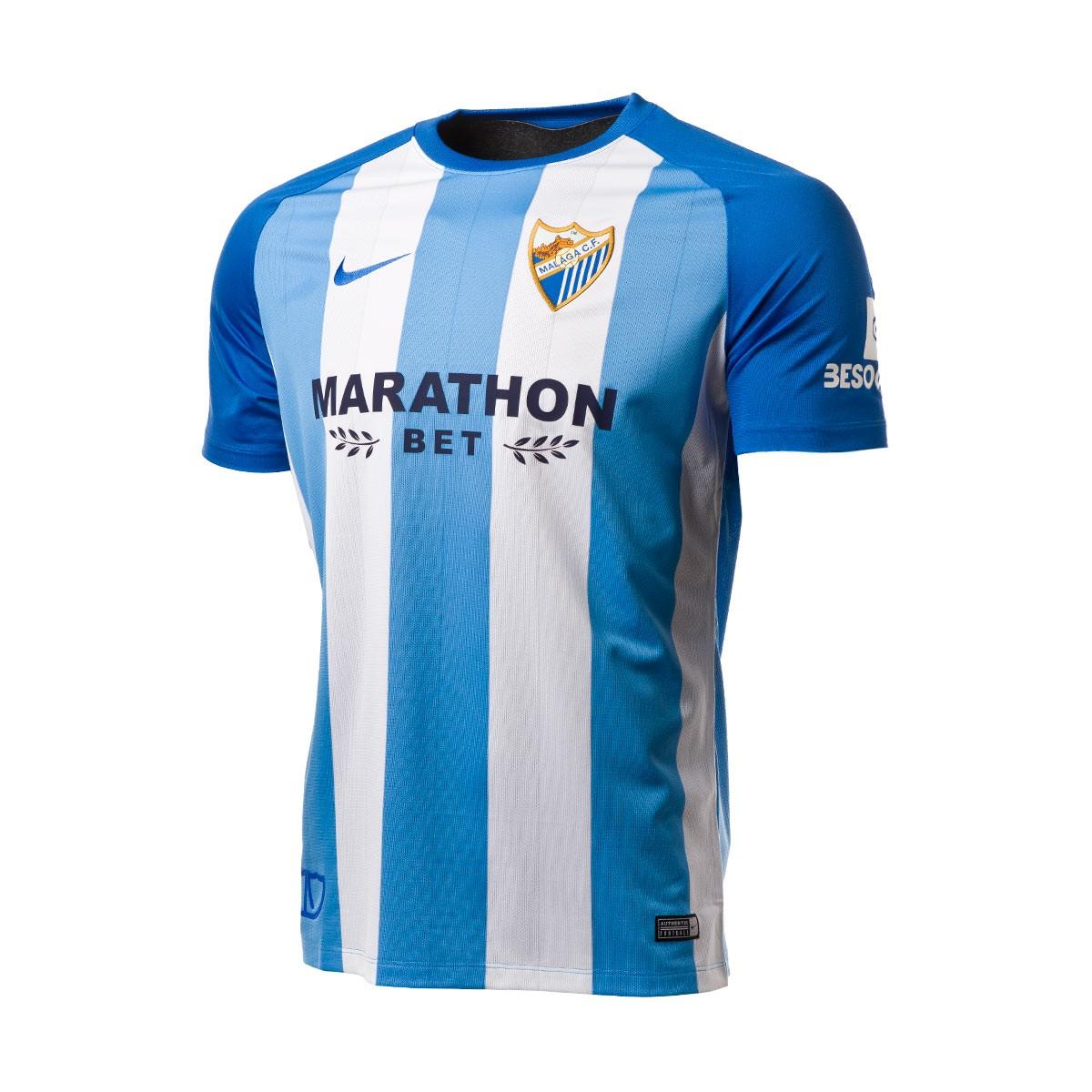 Jersey Nike Málaga CF 1st kit 2017-2018 White-Blue - Football store ... 41d9c97aa