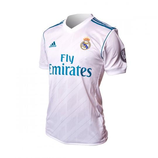 Camiseta  adidas Real Madrid Primera Equipación UCL 2017-2018 White-Vivid teal