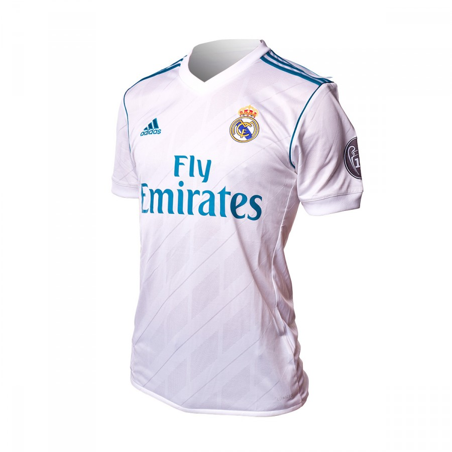 separation shoes 14e22 dab40 Camiseta Real Madrid Primera Equipación UCL 2017-2018 White-Vivid teal