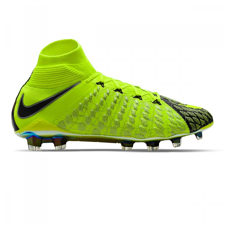ad158e53dec Football Boots Nike Hypervenom Phantom III DF EA SPORTS FG Niño Black-Volt  - Football store Fútbol Emotion