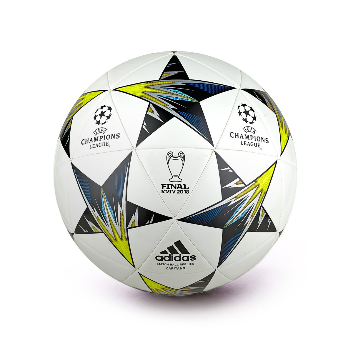 desbloquear Inspirar compañero  Ball adidas Finale Kiev Capitano White-Black-Solar yellow-Blue-Clear  agua-Oran - Football store Fútbol Emotion