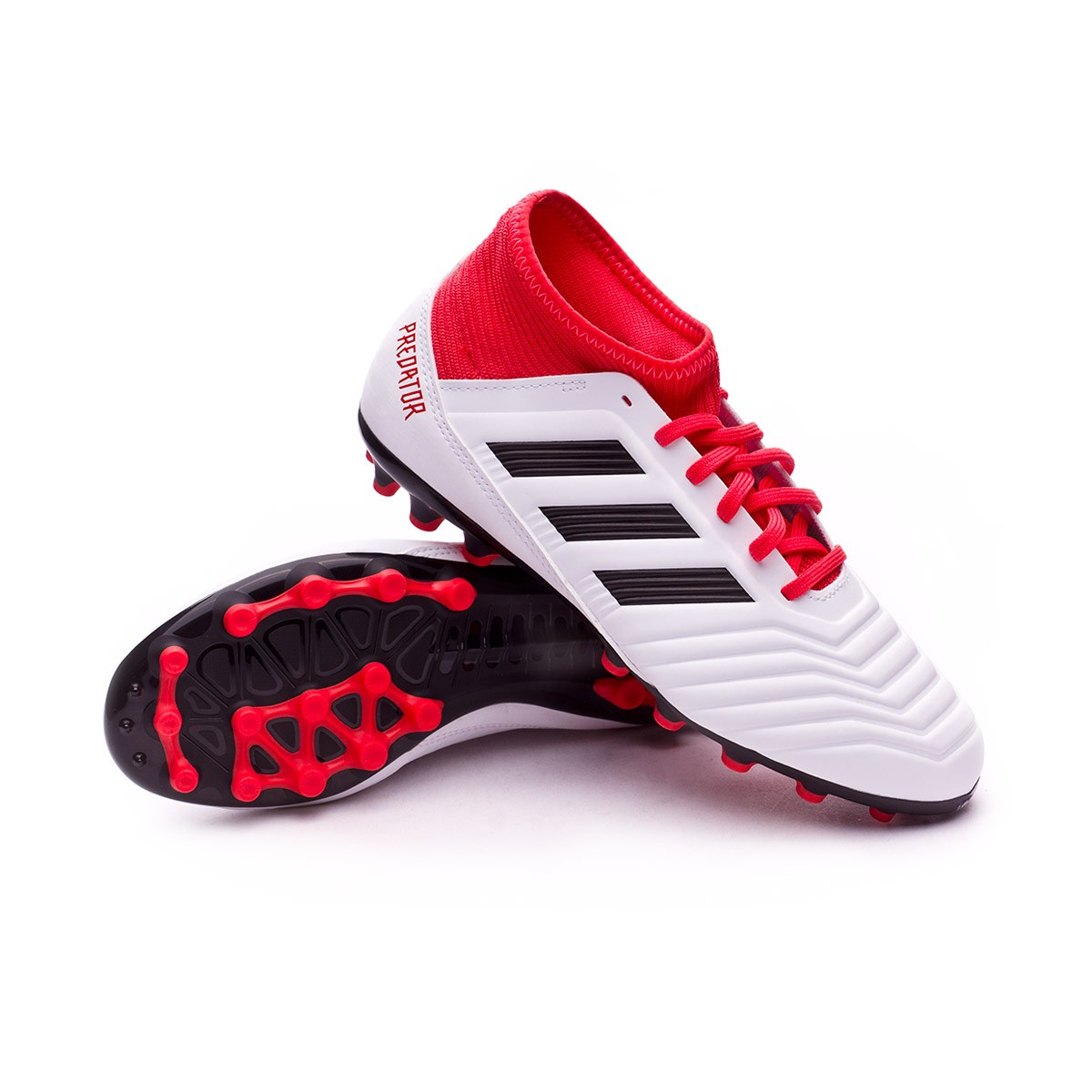 6a7d5582d48 adidas Kids Predator 18.3 AG Football Boots. White-Core black-Real coral ...