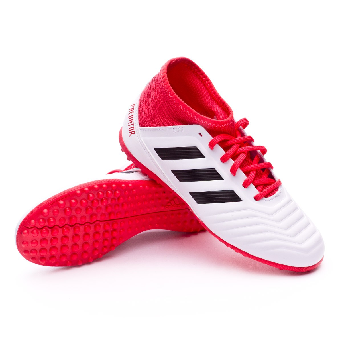 5c356a81a03 adidas Kids Predator Tango 18.3 Turf Football Boot. White-Core black-Real  coral ...