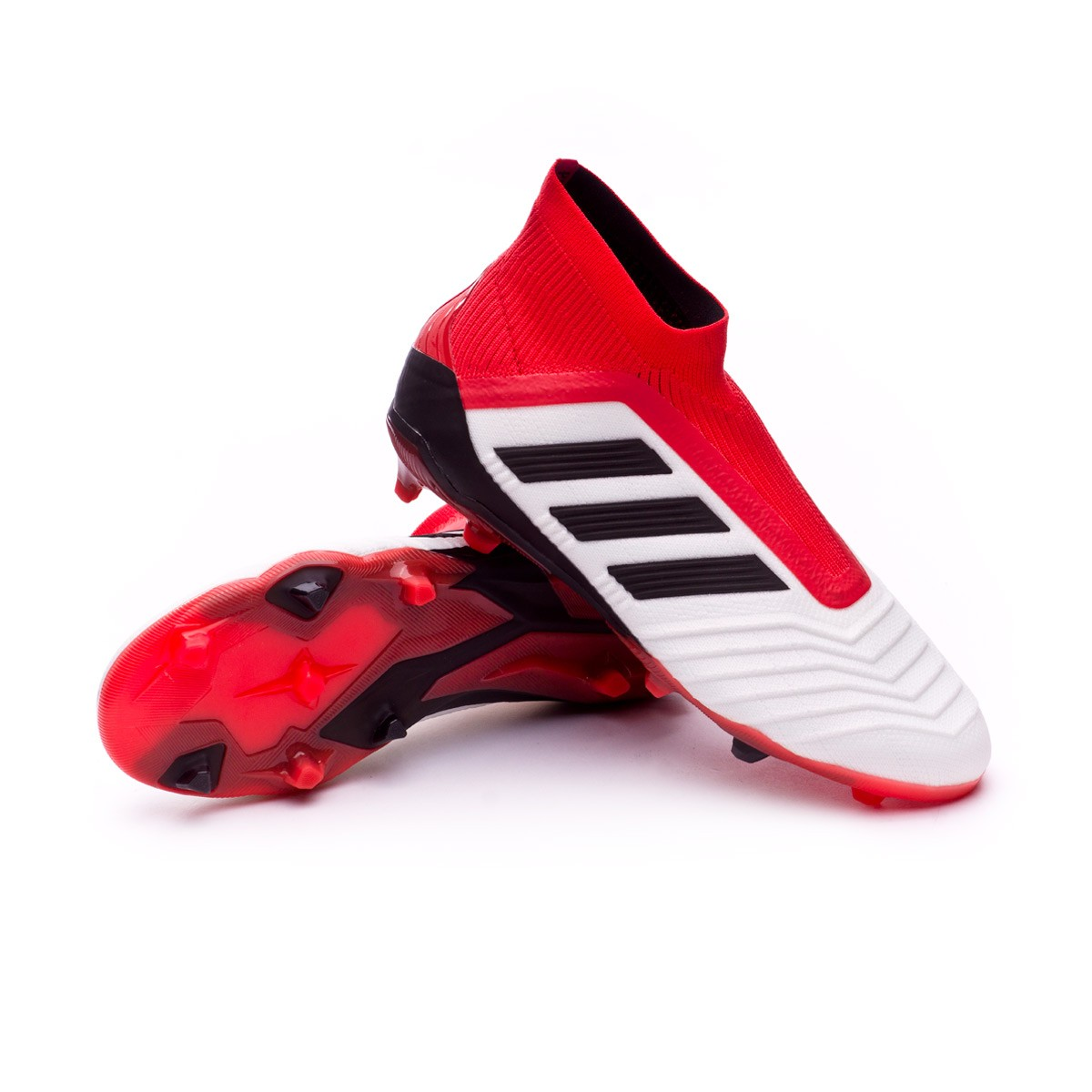 e069d281cc8 adidas Kids Predator 18+ FG Football Boots. White-Core black-Real coral ...