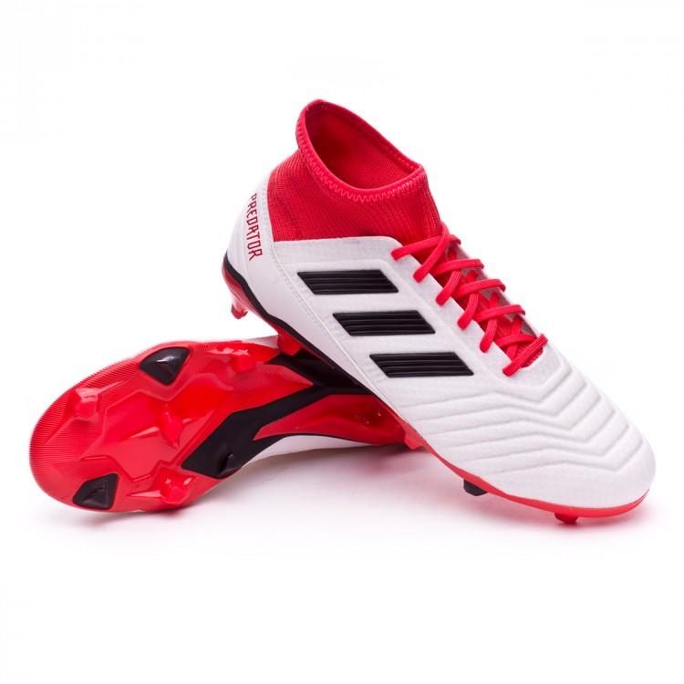 bd90270f80aef Bota de fútbol adidas Predator 18.3 FG White-Core black-Real coral ...