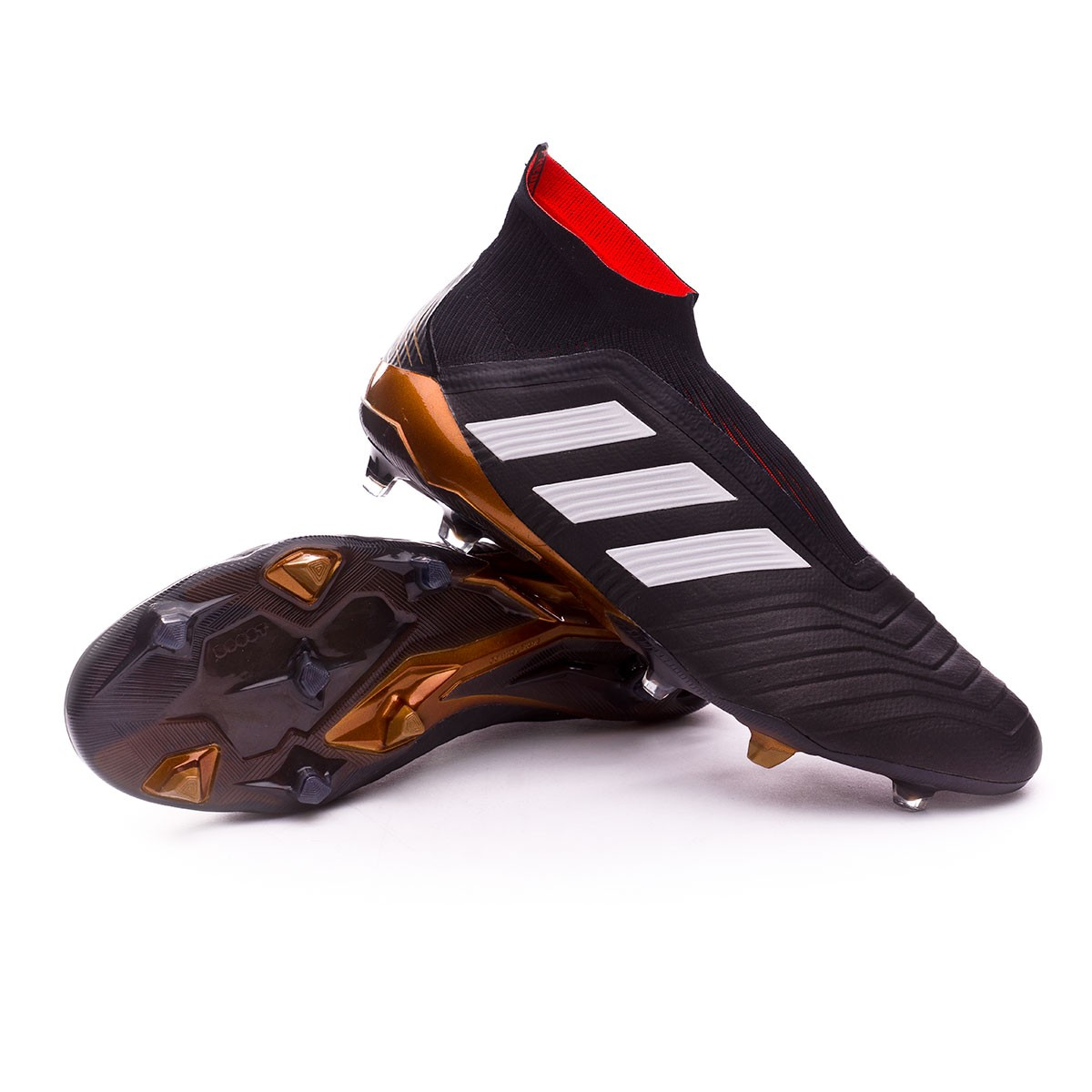5c61e029e Football Boots adidas Predator 18+ FG Core black-White-Gold metallic-Solar  red - Football store Fútbol Emotion
