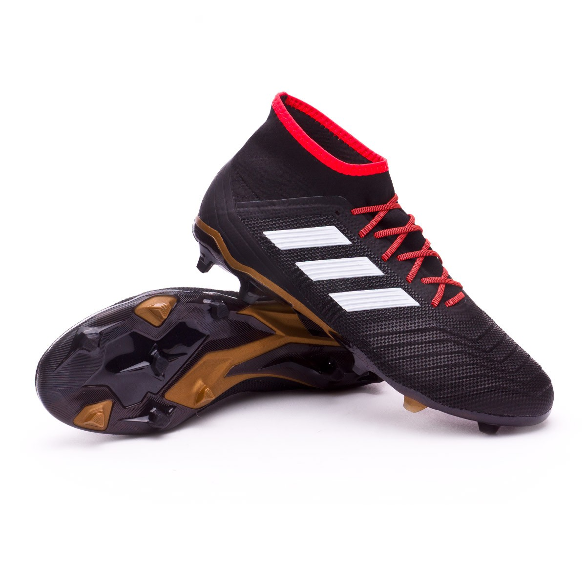 5a36126ab0e9 adidas Predator 18.2 FG Football Boots. Core black-White-Gold ...