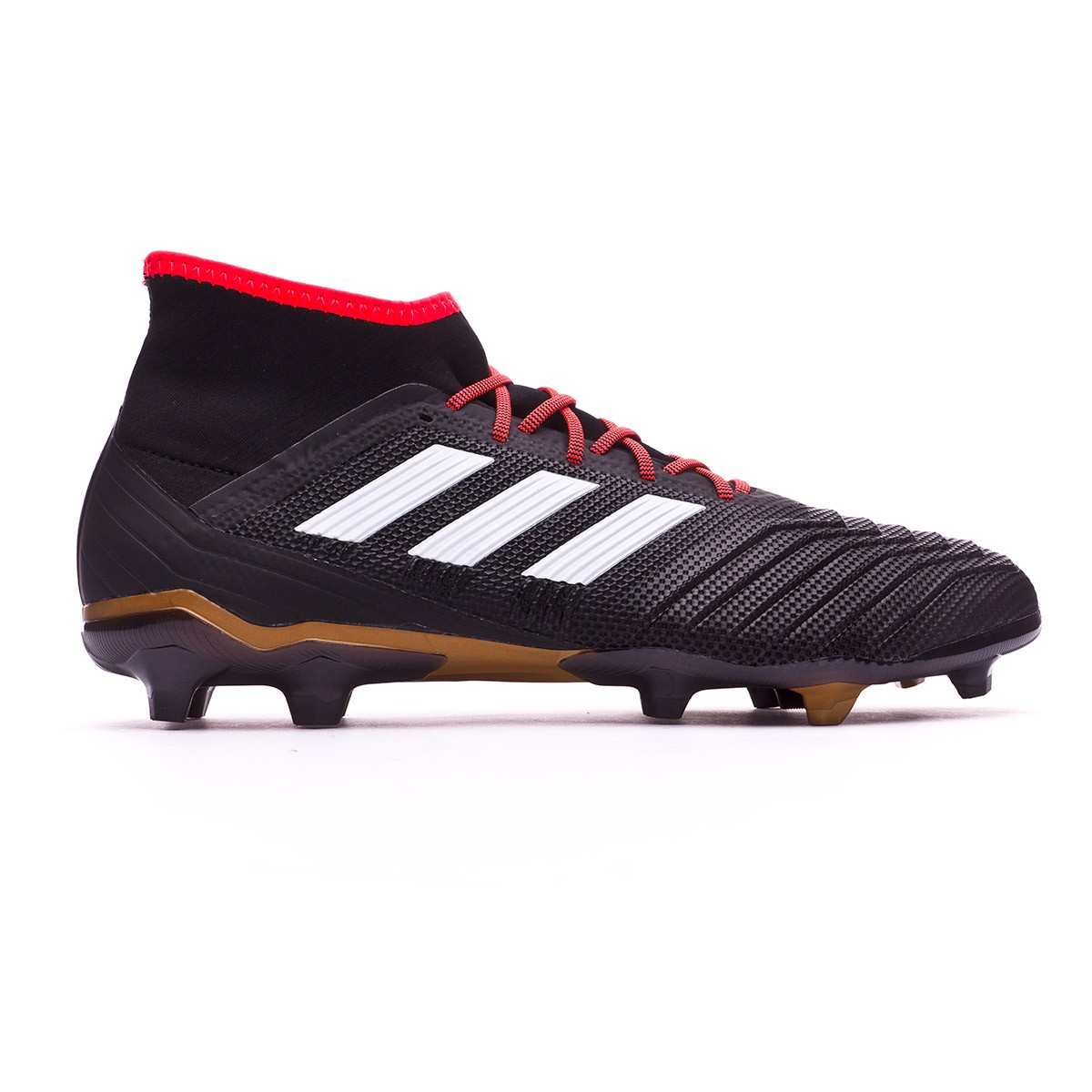 1dbe4fdee Football Boots adidas Predator 18.2 FG Core black-White-Gold metallic-Solar  red - Football store Fútbol Emotion