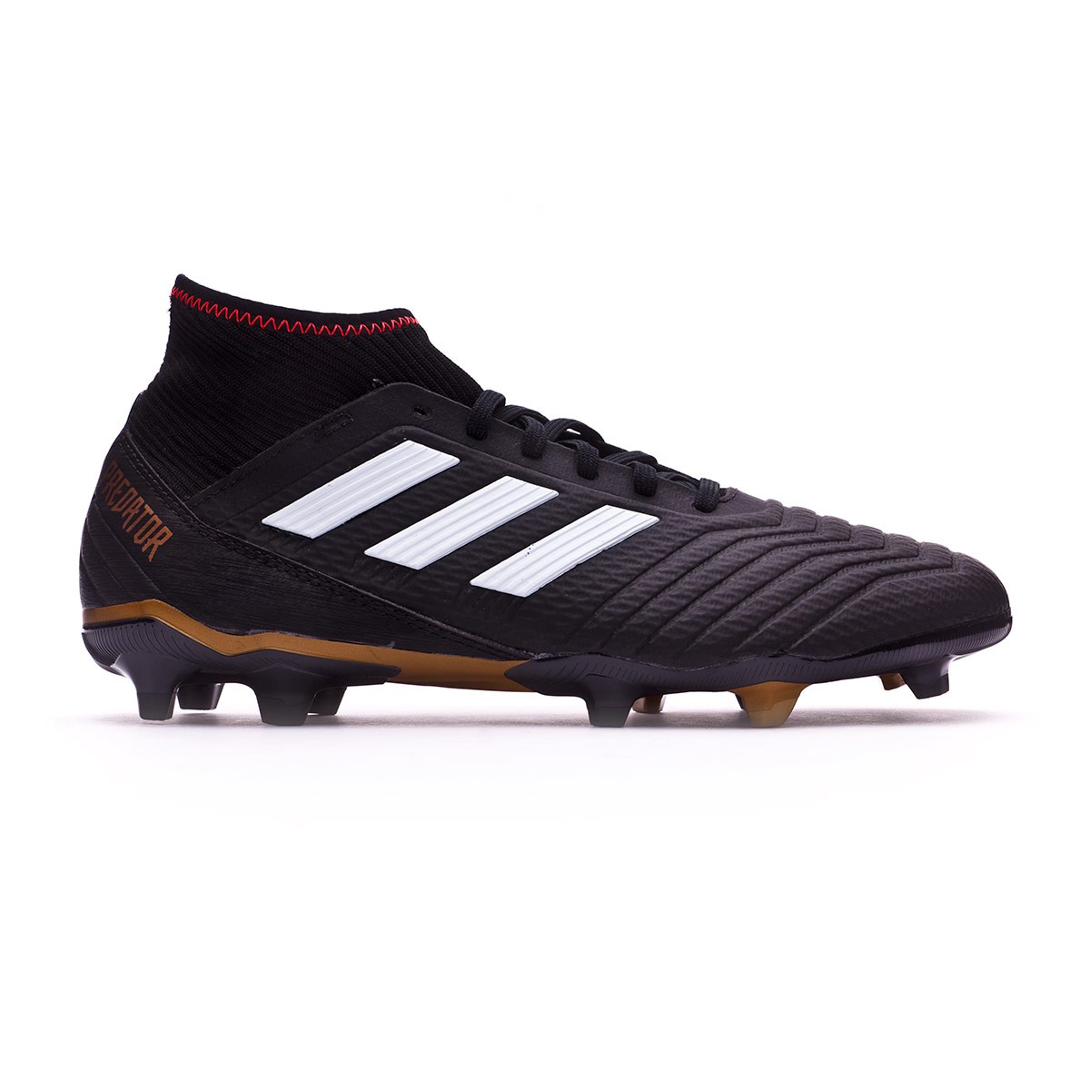 ca4b3399 Zapatos de fútbol adidas Predator 18.3 FG Core black-White-Gold  metallic-Solar red - Tienda de fútbol Fútbol Emotion