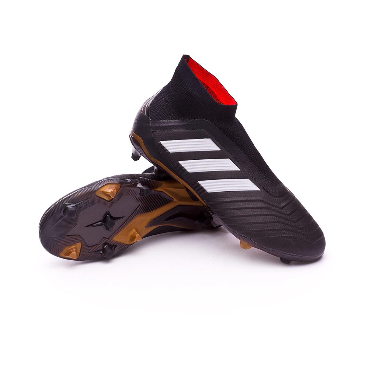 dd951c067a009 Bota de fútbol adidas Predator 18+ FG Niño Core black-White-Gold  metallic-Solar red - Tienda de fútbol Fútbol Emotion
