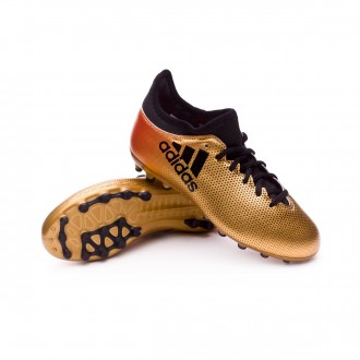 Chuteira  adidas X 17.3 AG Niño Tactile gold metallic-Core black-Solar red