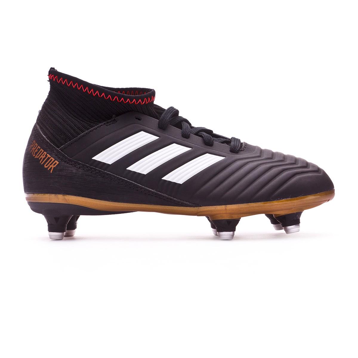 2f88c044f08 Football Boots adidas Kids Predator 18.3 SG Core black-White-Gold  metallic-Solar red - Football store Fútbol Emotion