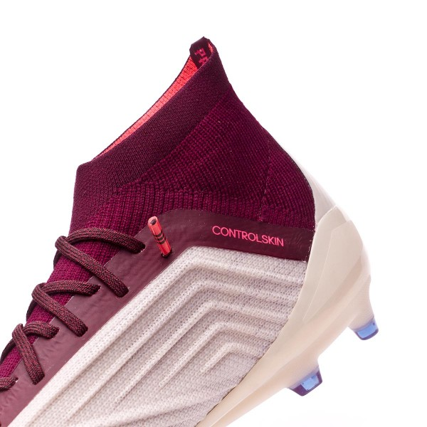 Boot adidas Woman Predator 18.1 FG Talc-Vapour grey metallic-Maroon -  Football store Fútbol Emotion 2e4de12697