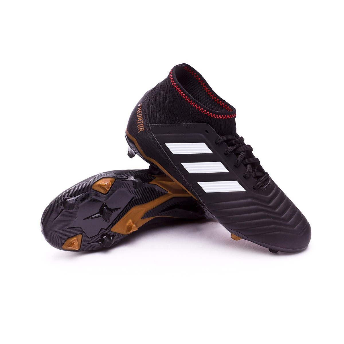 13f15588600 adidas Kids Predator 18.3 FG Football Boots. Core black-White-Gold ...