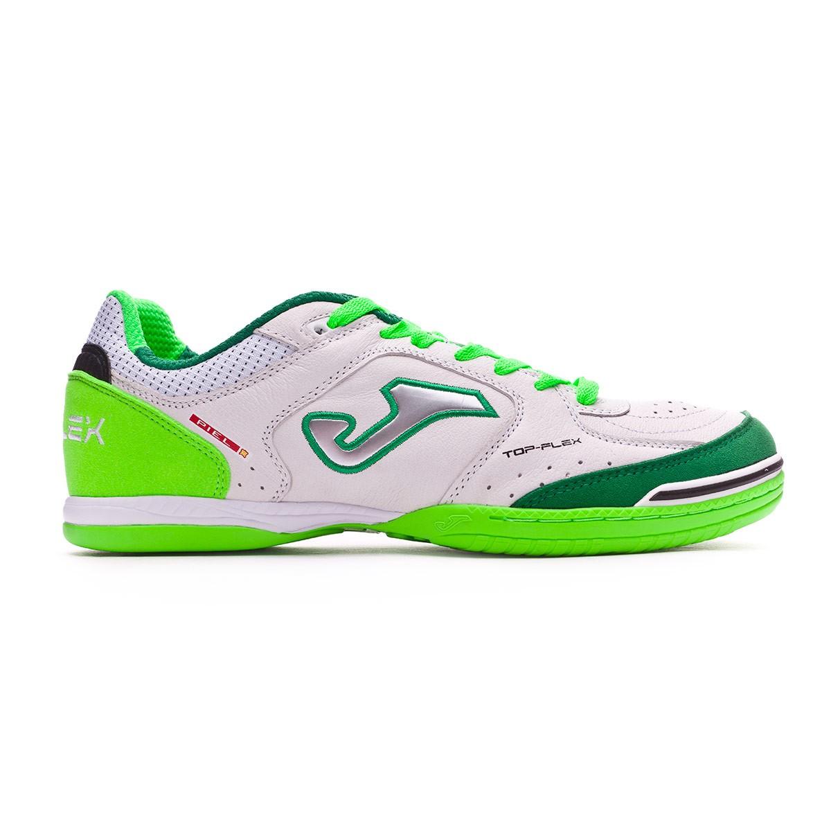 Futsal Boot Joma Top Flex White-Green - Football store Fútbol Emotion 93b3e5ed54d86