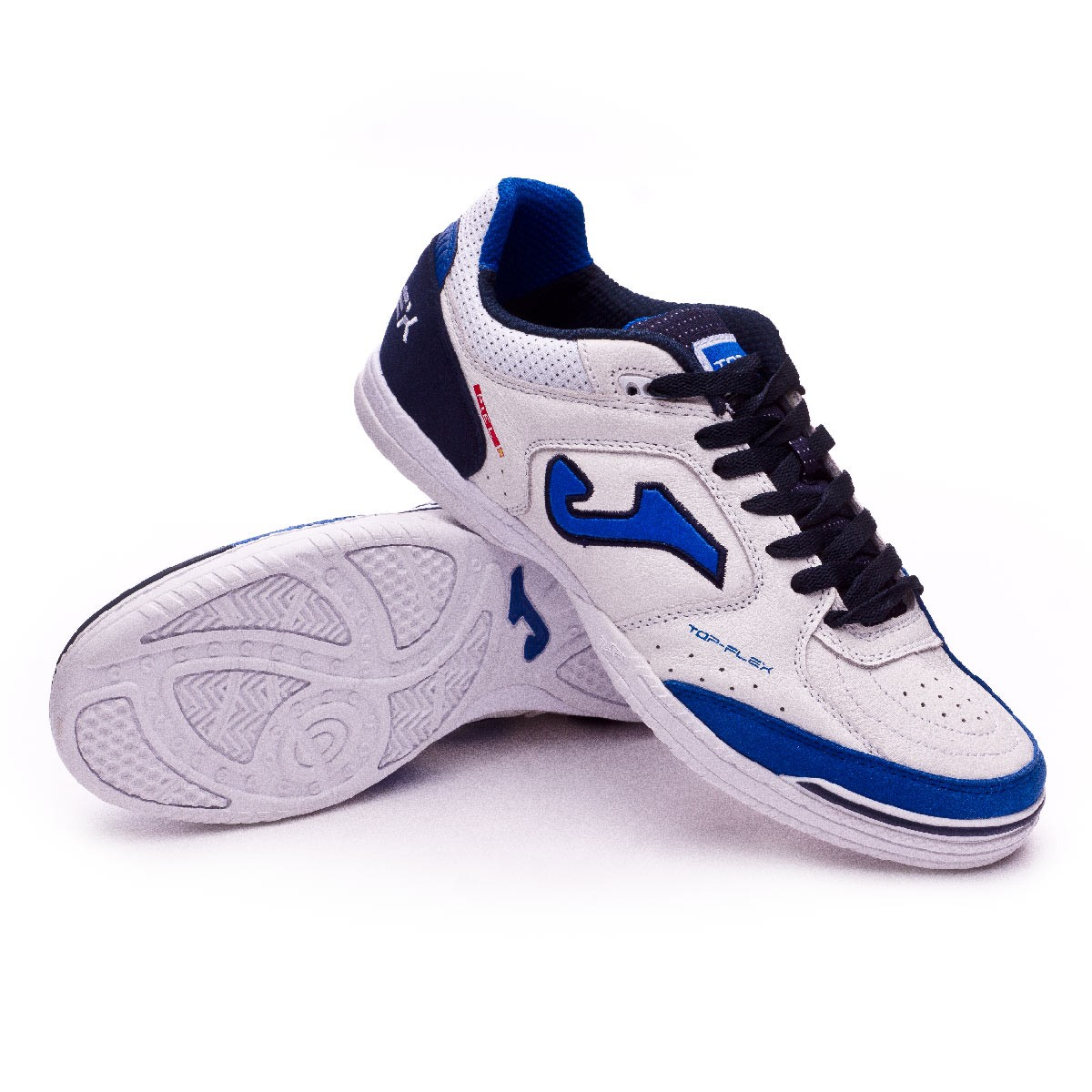 29359a6a470 Futsal Boot Joma Top Flex White-Blue - Tienda de fútbol Fútbol Emotion