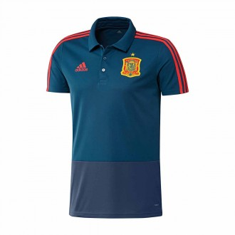 Pólo  adidas España 2017-2018 Tribe blue-Oxford Blue-Red