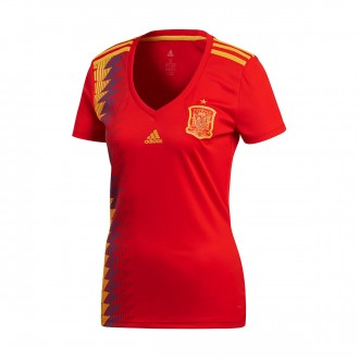 Camiseta  adidas España Primera Equipación 2017-2018 Mujer Red-Gold