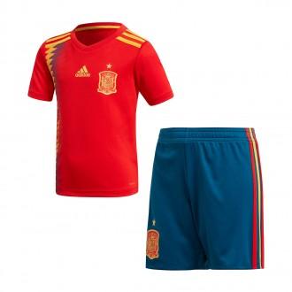 Conjunto  adidas España Primera Equipación 2017-2018 Niño Red-Gold