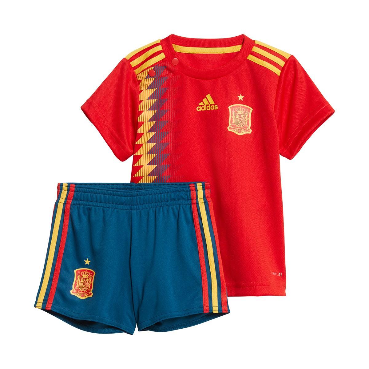 Conjunto adidas Bebé España Primera Equipación 2017-2018 Red-Gold ... b98fef2fb53
