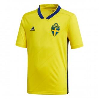 Camiseta  adidas Suecia Primera Equipación 2017-2018 Niño Yellow-Mystery ink