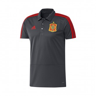 Polo  adidas España 2017-2018 Solid grey-Night grey-Red