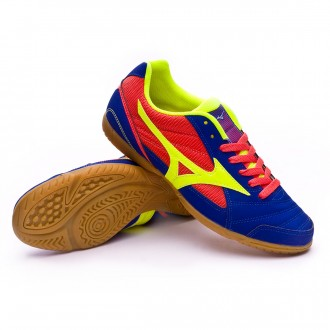 Futsal Boot  Mizuno Sala Club 2 IN Surf the web-Safety yellow-Coral