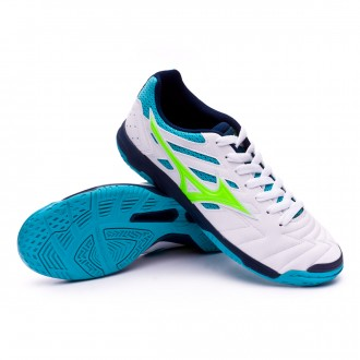 Futsal Boot  Mizuno Sala Classic 2 IN White-Green-Pea cock blue