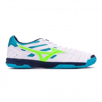Zapatilla  Mizuno Sala Classic 2 IN White-Green-Pea cock blue