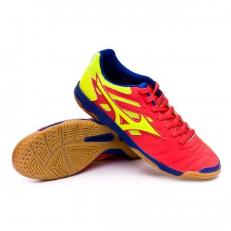 Futsal Boot  Mizuno Sala Classic 2 IN Coral-Safety yellow-Surf the web